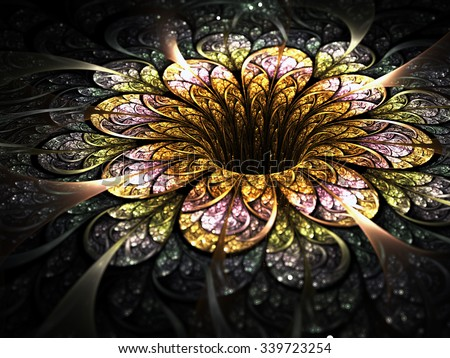 Dark golden fractal flower, digital artwork for creative graphic design