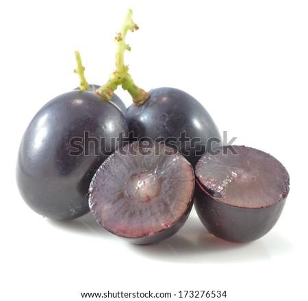 Dark grapes, Isolated on white background - stock photo