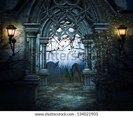 Dark Graveyard Background Stock Illustration 134021903
