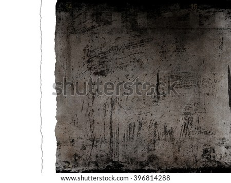 Dark gray background with film strip and white paper stripe