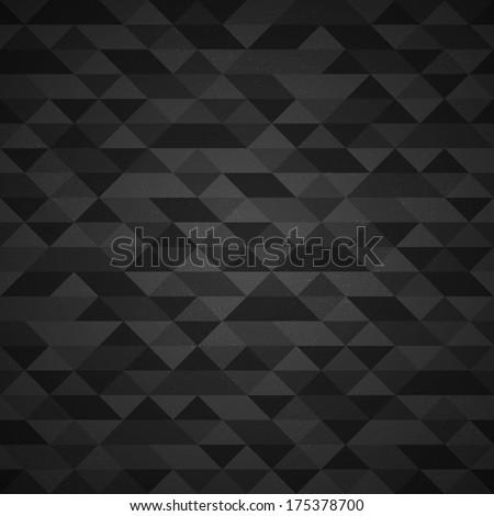Dark gray grunge retro triangle seamless background pattern - stock photo