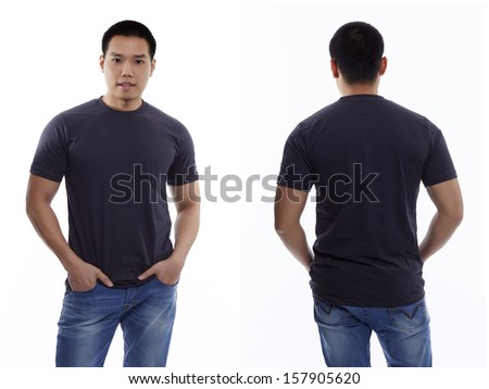 Dark gray t-shirt on a young man isolated front and back-Studio Shot - stock photo