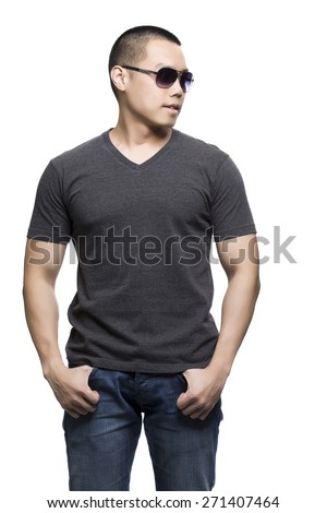 Dark gray t-shirt on a young man isolated on the white background-Studio shot ready for your own graphic.