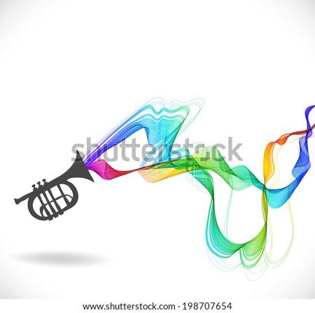 Dark gray trumpet  icon with color abstract wave over white