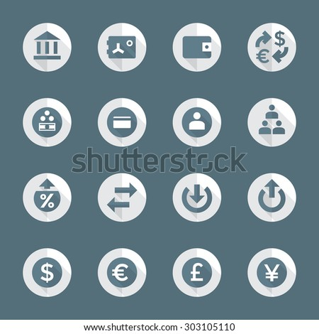 dark gray white flat design round various financial banking icons set long shadows  - stock photo