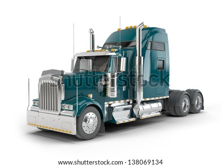 Dark green american truck isolated on white background - stock photo
