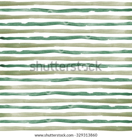 dark green and brown Watercolor hand painted brush strokes, striped background - stock photo