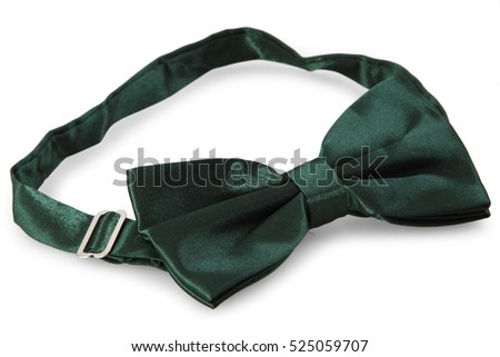 Dark green bow Tie, isolated on white background