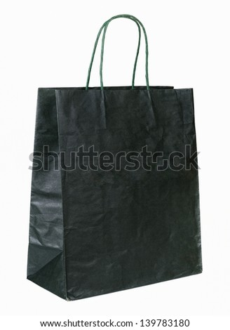 dark green color paper bag with handle - stock photo