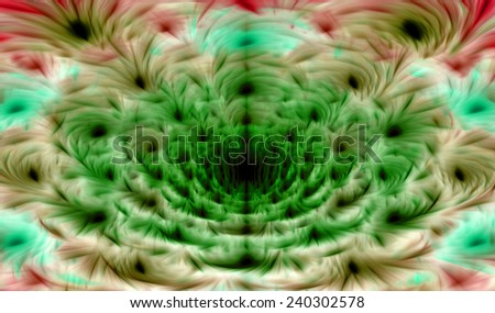 Dark green,cyan,pink,brown abstract soft and silky fractal flower in high resolution with a detailed soft smooth petals and against dark background  - stock photo