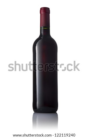 Dark green glass bottle with red wine isolated on a white background. - stock photo