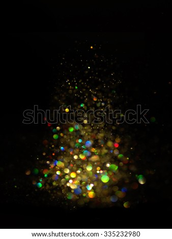 dark green glitter lights background. abstract green and black. defocused.Christmas card - stock photo