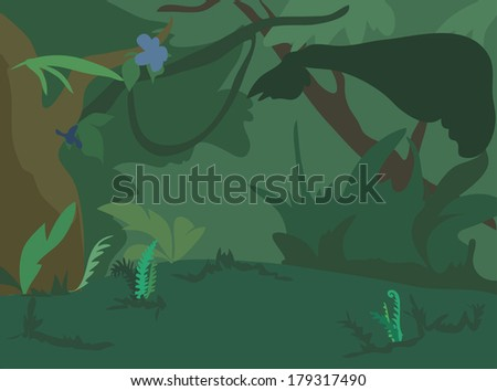 Dark green jungle landscape background.  Illustration.