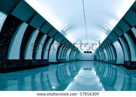 dark green metro station - stock photo