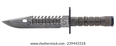 Dark green of military knife in pocket isolated white - stock photo