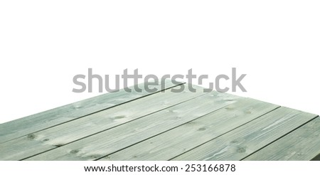 Dark green paint coated wooden pine boards as a copyspace background composition isolated over the white background - stock photo