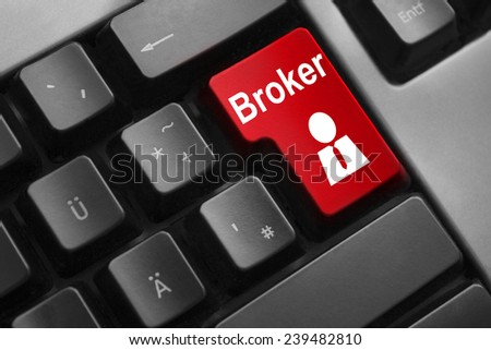 dark grey keyboard red button broker businessman symbol - stock photo