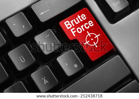 dark grey keyboard red button brute force - stock photo