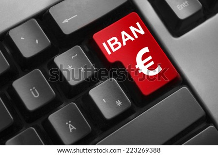 dark grey keyboard red button iban euro symbol - stock photo