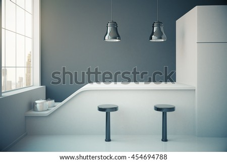 Dark grey kitchen interior with fridge, countertop, two stools, cooking pans, ceiling lamps and window with city view. 3D Rendering - stock photo