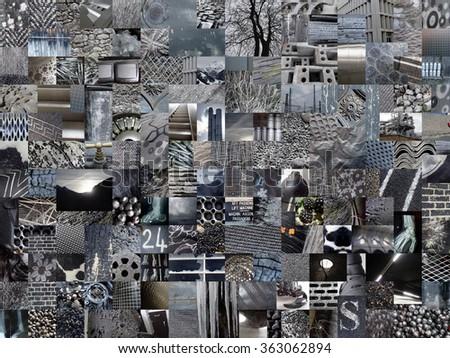 DARK GREY patchwork photo montage background - stock photo