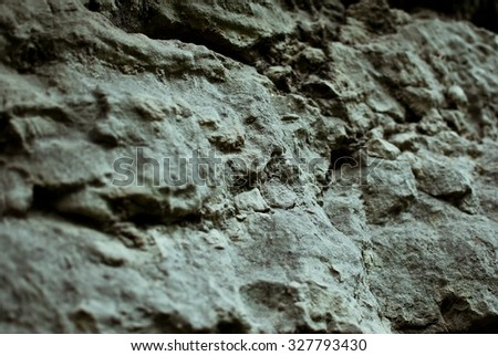 Dark grey rock in the summer forest outside the city. Cloudy summer weather after the rain - stock photo