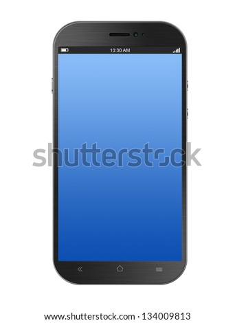 Dark Grey Smartphone Isolated on White Background