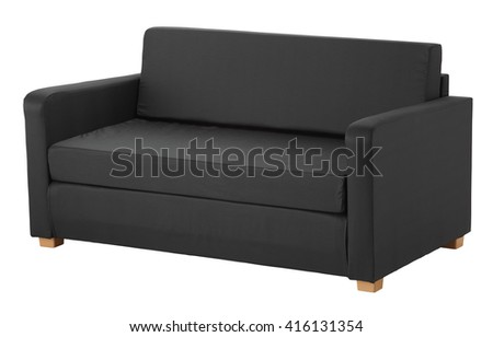 Dark grey sofa isolated on white include clipping path