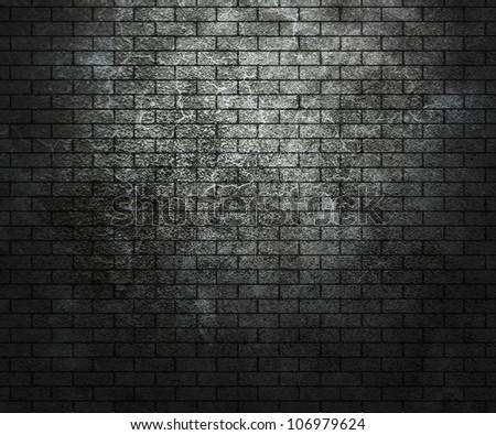 Dark Grunge Brick Wall - stock photo