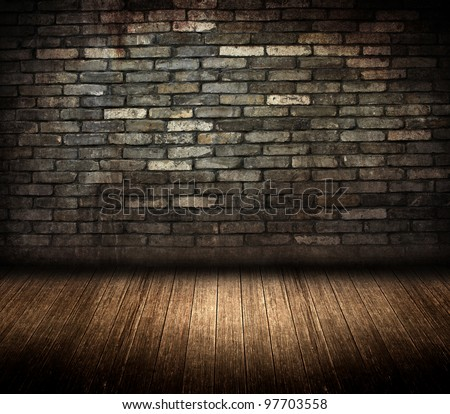 dark grunge brick wall room - stock photo