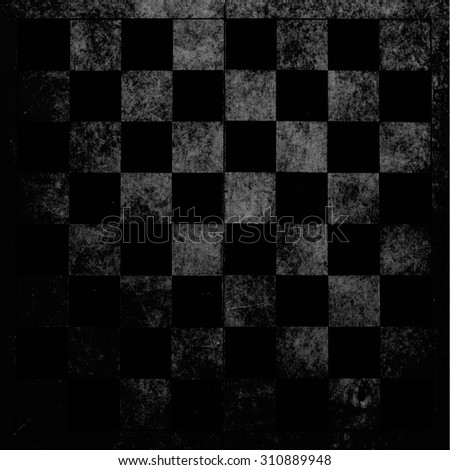 Dark grunge monocrhome photo of the old vintage chessboard  - stock photo