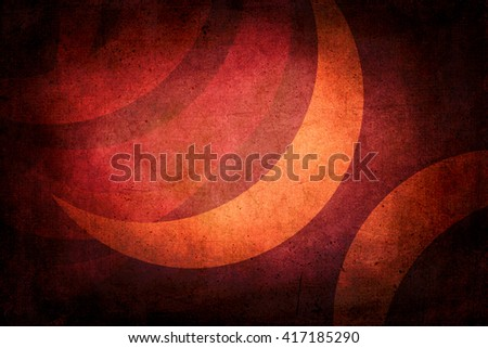 Dark grunge texture with crescent moon to use as background. Colors orange and red