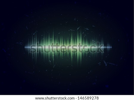 Dark grungy card with glowing music waveform - stock photo