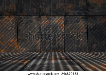Dark Grungy Rusty Metal Room - stock photo