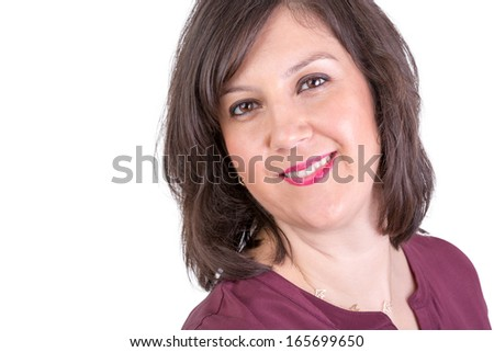 Dark Hair middle age woman looking in to your eyes naturally happy