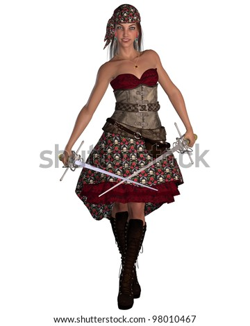 Dark-haired smiling female pirate with twin rapiers and bandana and skull and crossbones patterned skirt, 3d digitally rendered illustration