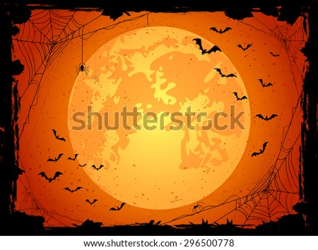 Dark Halloween background with orange Moon, spiders and bats, illustration. - stock photo