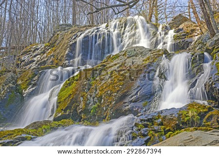 Dark Hollow Falls in Shenandoah National Park in Virginia in the Early Spring - stock photo