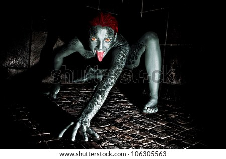 Dark Horror Scene of a Scaly Demon Crawling in the Night