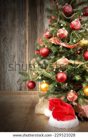 dark interior of christmas tree  - stock photo