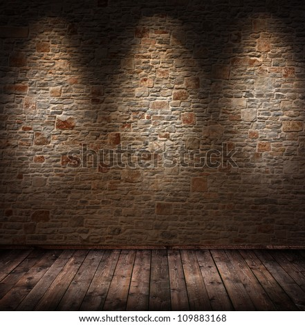 dark interior room with 3 spots - stock photo