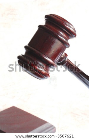 Dark judge hammer and gavel - stock photo