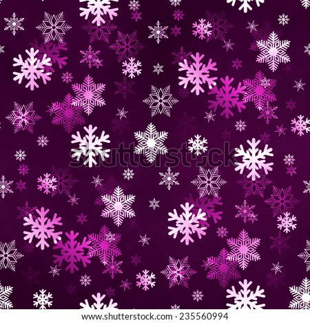 Dark lilac winter Christmas snowflakes with a seamless pattern as background image. - stock photo