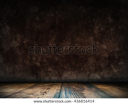 Dark loft interior room. Old interior background for montage or product presentation. Room template. Table template. Interior template. 3D illustration