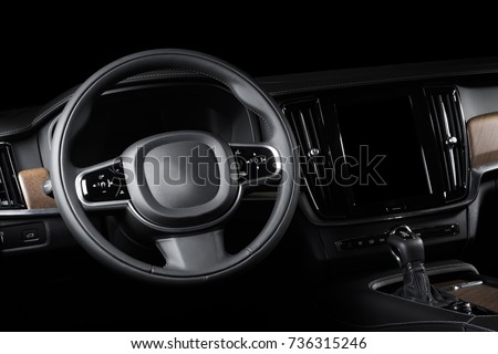 Dark Luxury Car Interior Steering Wheel Stock Photo - Car image sign of dashboardcar dashboard icons stock photospictures royalty free car