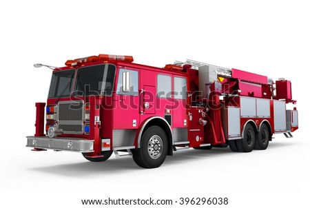 Dark Magenta Firetruck perspective front view isolated on a white background
