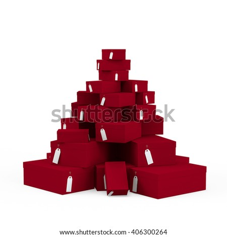 Dark Magenta gift boxes with price tag blank isolated on white background. 3D Rendering, 3D Illustration.