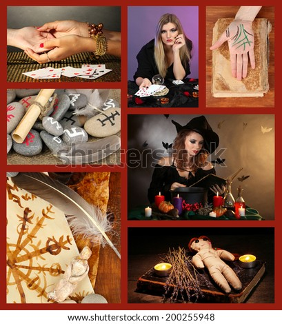Dark magic and witch collage - stock photo