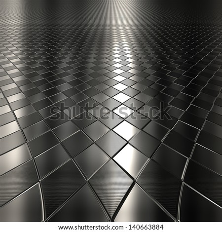 Dark metal silver checked pattern background with perspective - stock photo