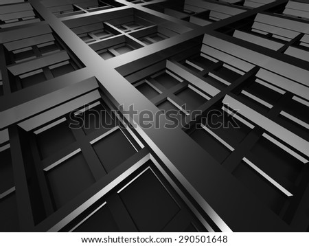 Dark Metallic Square Industrial Design Background. 3d Render Illustration - stock photo